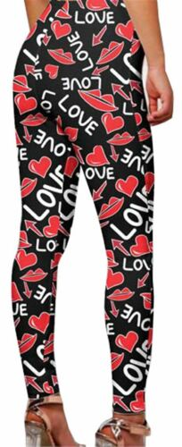 New Ladies Flag Love Butterfly Print Skinny Stretchy Workout Gym Pants Leggings