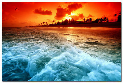 Sunset Sea Beach Waves Paragliding Seascape Art Silk Wall Poster 13x20 24x36