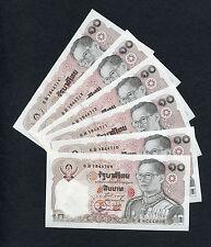 6 Consecutive 10 Baht Thailand Banknotes 1980 UNC Thai Rama IX paper money