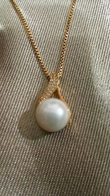 AAA 11-12MM White Pearl Necklace  South Sea Saltwater Pearl Pendant w//Zirconias