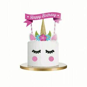 Image Is Loading Unicorn Cake Topper Glitter Girls Birthday Decoration