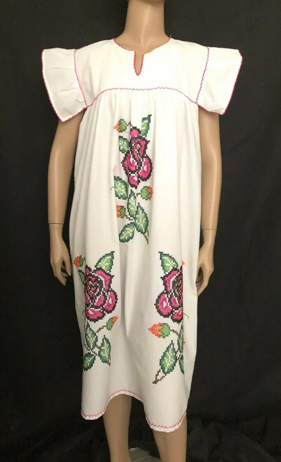 Vintage Hippie Ethnic Boho Mexican Cross Stitch Embroidery Tunic Festival Dress