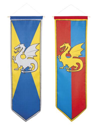 Médiéval standard chevaliers dragon camelot parti décoration long grand drapeau bannière
