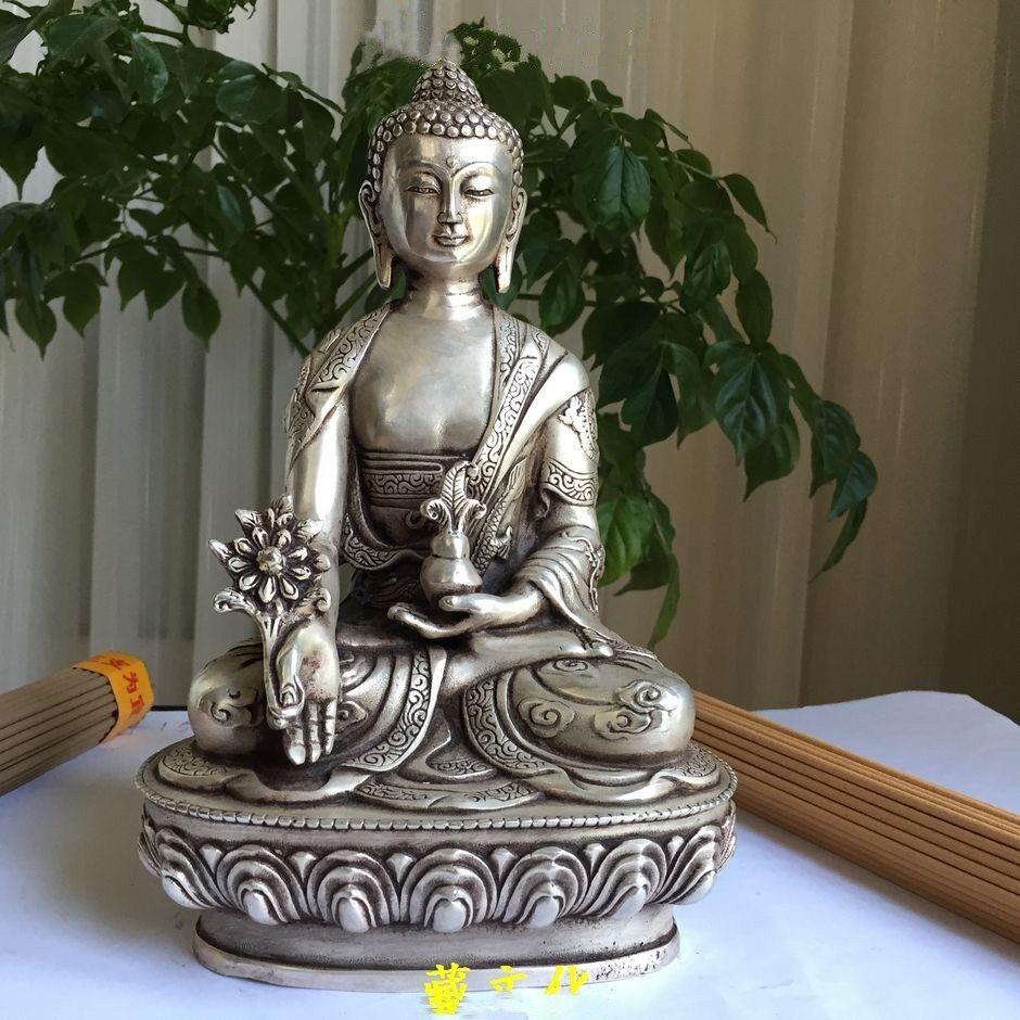 China Silver Buddhism dragon Po Sang Buddha Lotus seat Medicine Buddha Statue