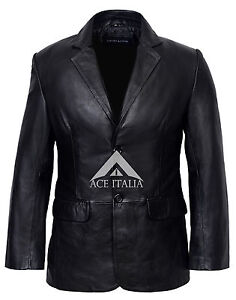 Classique-Blazer-Homme-noir-sur-mesure-souple-veritable-peau-d-039-agneau-Veste-en-cuir-Manteau-9124