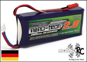 1x-Turnigy-nano-tech-2000mAh-2S-20-40C-Lipo-Akku-NEU-OVP-7-4V-T-Rex-600-700-BEC