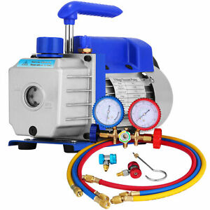Single-Stage-3-CFM-REFRIGERATION-AIR-CONDITIONING-VACUUM-PUMP-R410a-GAUGES