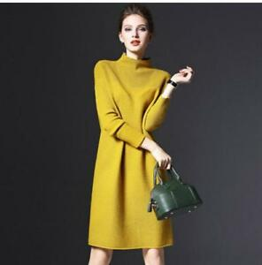 Details about pullover Sweater Women Winter Long Sleeve Knitted Dress Wool  Dresses Plus Size