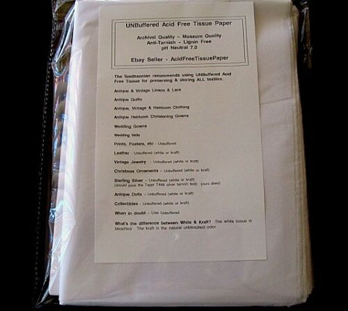 "75 Sheets ACID FREE Tissue Paper UNBUFFERED White 15 x 20/"" NOT Gift Grade!"