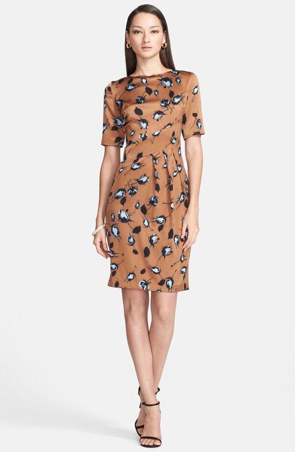 St. John Collection pinkbud Print Silk Charmeuse Dress    ( Size 12)