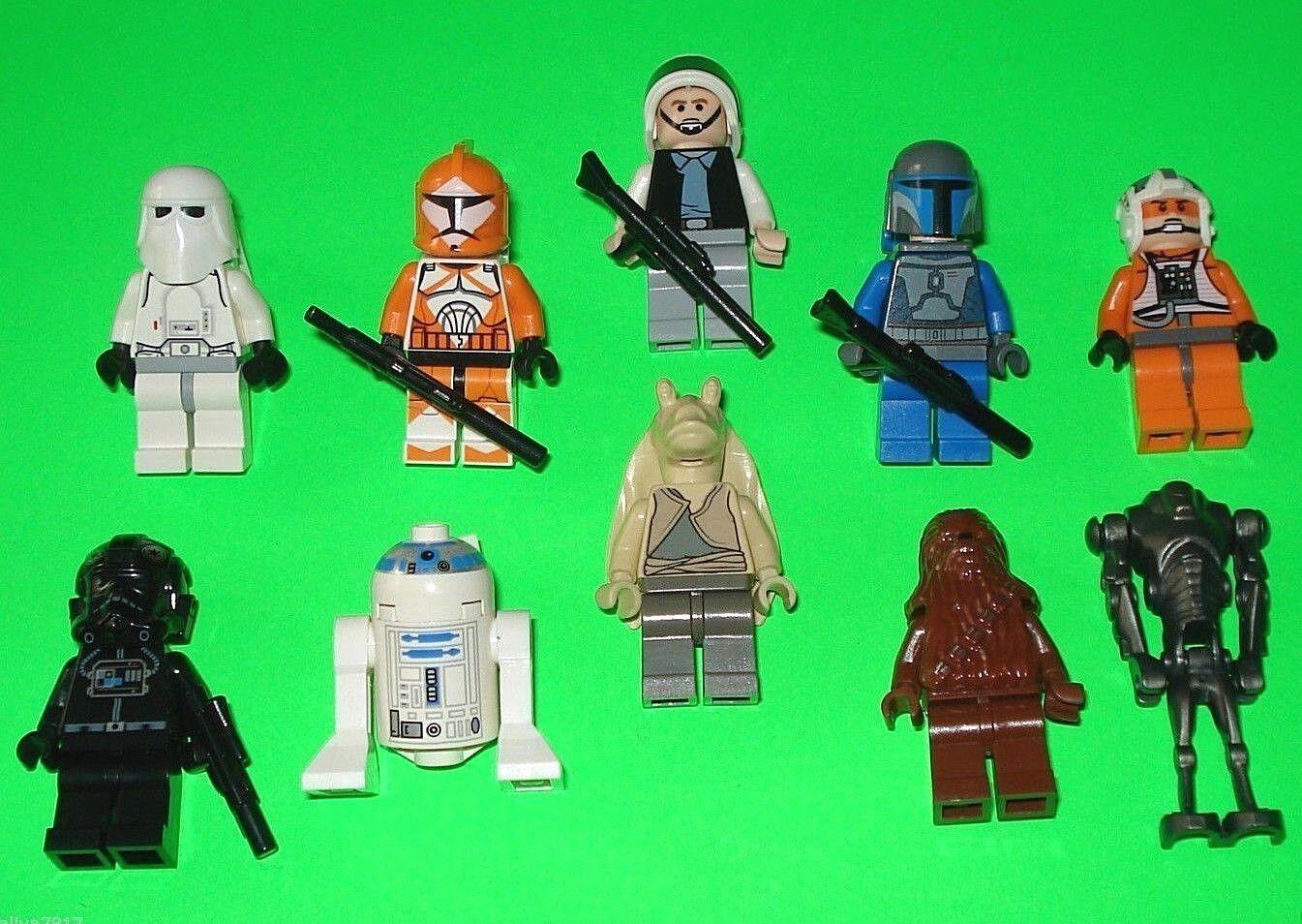 10 LEGO STAR WARS FIGUREN CHEWBACCA - - - DROIDEN - R2-D2 - TROOPER    =TOP b1b3b5