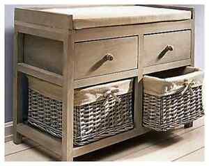 sitzbank mit k rbe schubladen landhaus shabby flur aufbewahrung bank neu ebay. Black Bedroom Furniture Sets. Home Design Ideas