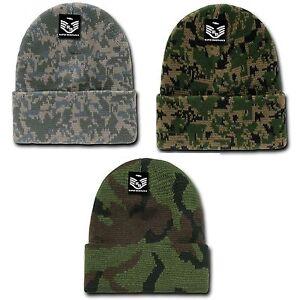 1 Dozen Military Camouflage Camo Cuffed Beanies Knit Watch
