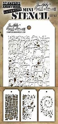 Tim Holtz Mini Layered Stencil Set 3//Pkg-Set #4 MTS-4