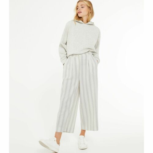 New Look Petite White Stripe Linen Look Crop Trousers