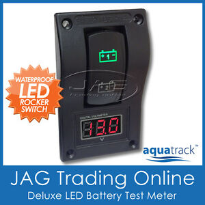 12V DELUXE LED DUAL BATTERY TEST PANEL WITH VOLT/VOLTAGE CONDITION METER GAUGE