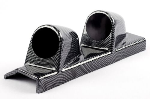 Double Pillar Mount 2 Gauge Holder 52mm Carbon fibre effect LEFT HAND DRIVE pod