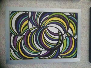 Tableau Abstrait moderne papier A4 fait aux feutres cadre bois