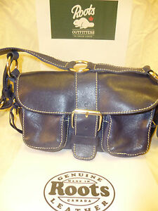 07b589cde0 Image is loading ROOTS-Canada-Genuine-Electric-Blue-Leather-Handbag-New-