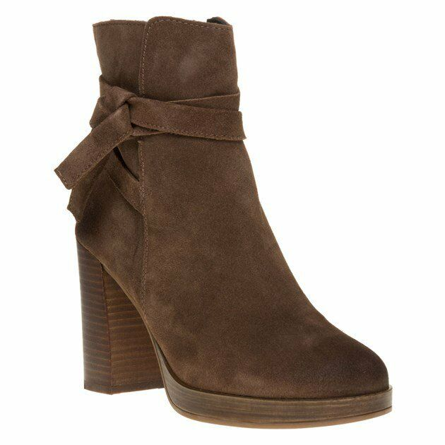 New Womens SOLE Taupe Dorris Suede Boots Ankle Zip