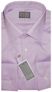 NEW-IKE-BEHAR-SOFT-LAVENDER-DIAMOND-WEAVE-CLASSIC-FIT-DRESS-SHIRT-18-36-37