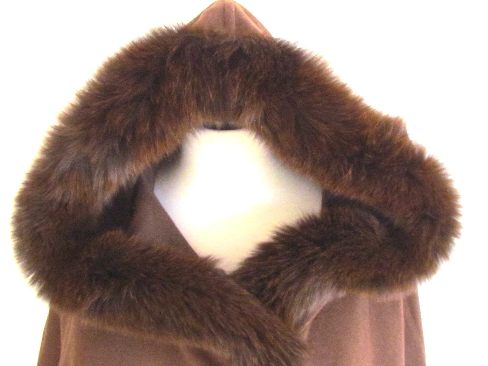 Damen Umhänge Tücher Fox Pelz Designer Schokobraun Wollmischung mit Kapuze