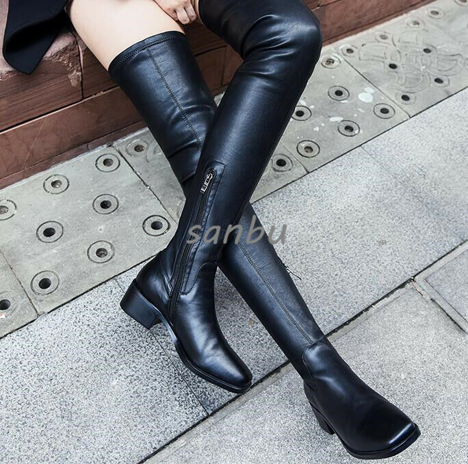 Women Overknee Boot Leather shoes Chunky Heels Square Toe Pull On Fashion New SZ