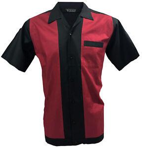 Rockabilly-Fashions-Retro-Vintage-Bowling-Men-039-s-Shirt-1950-1960-Black-Red