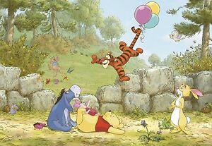 Details About 8 460 Disney Multicoloured Winnie Pooh Ballooning Komar Wallpaper
