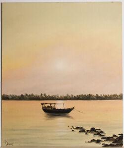 R. Duran - Mid 20th Century Oil, Sampan Anchored off Shore