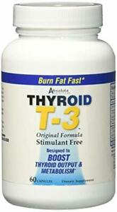 Absolute Nutrition Fat Burning Metabolism Boosting Supplement, Thyroid T-3, 60 C