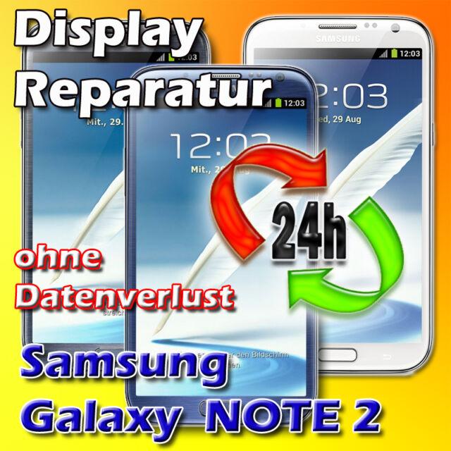 Display Reparatur Samsung Galaxy NOTE 2 7100 Frontglas Glasbruch Reparatur Weiß
