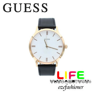 e81c5d47b Guess Escrow Mens Rose Gold Dial Black Leather Band Watch Model ...