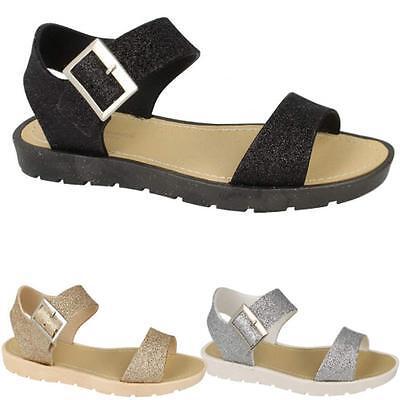 Señoras Sandalias De Gladiador Para Mujer Nuevo Piso Con Tiras De Verano Playa Zapatos Talla