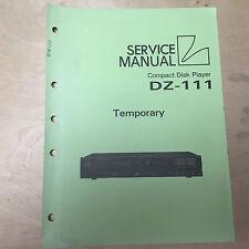 Original Luxman Temporary Service Manual for the DZ-111 CD Player ~ Repair