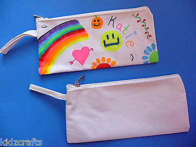 White Pencil Case Cotton Zipped Lined 22x11cm Kids Fabric Painting To Colour