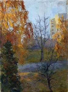 Russischer-Realist-Expressionist-Ol-Leinwand-034-Herbst-034-40-x-30-cm