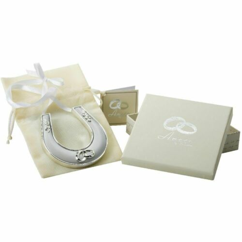 Personalised Good Luck  Horseshoe silver plated Free engraving Wedding Gift