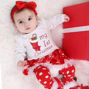 Baby Girls/' 4PCs Christmas Outfit Solid Red Tutu Dress Legging Headband Shoe