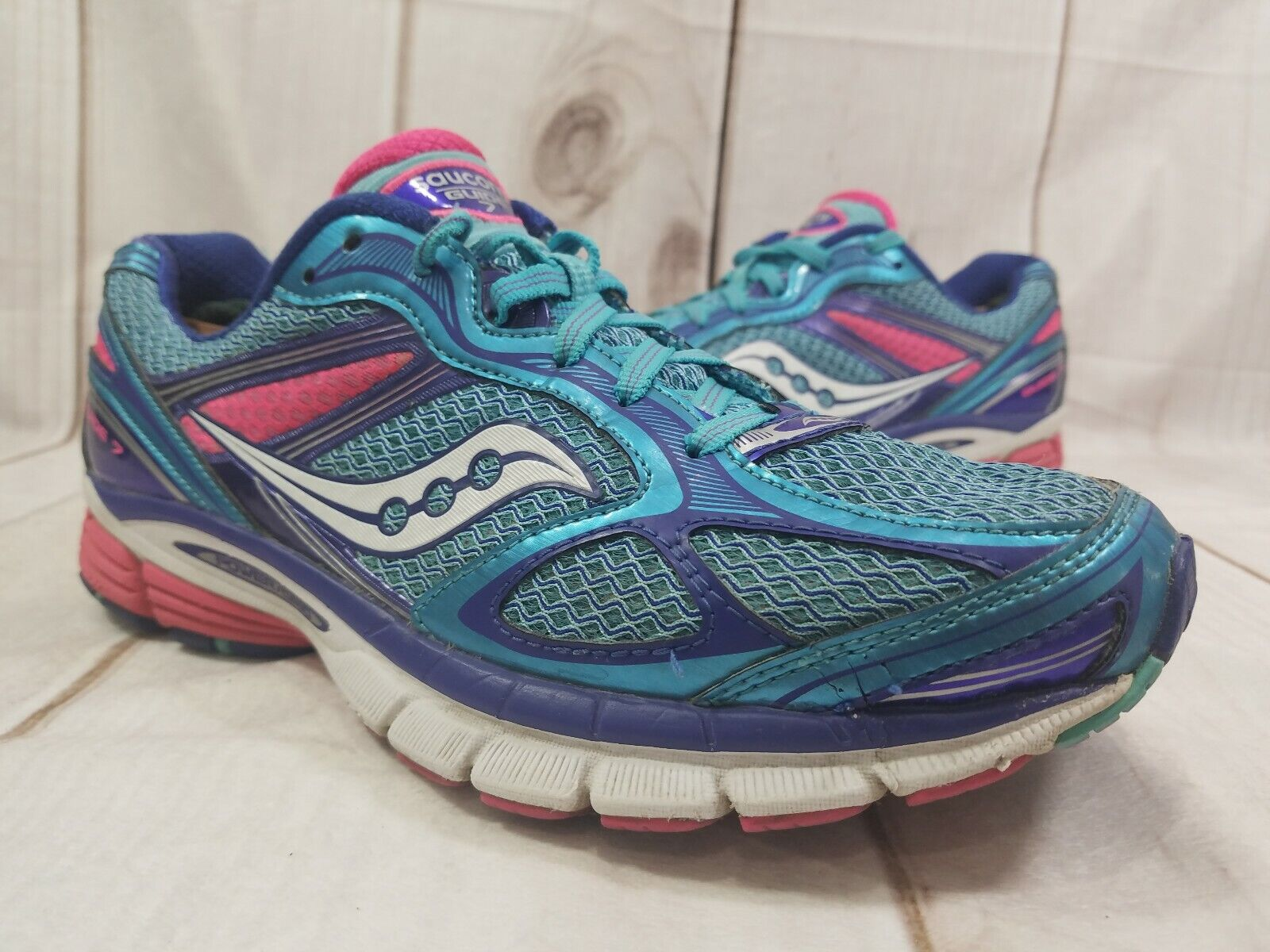 Saucony Guide 7 Size US 10 M (B) Women's Running shoes bluee Pink 10227-3