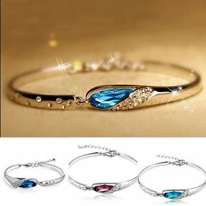 NEW-Fashion-Women-Silver-Plated-Crystal-Chain-Bangle-Cuff-Charm-Bracelet-Jewelry