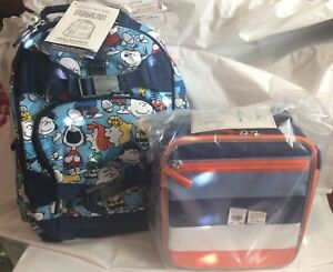 Pottery Barn Set Peanuts Snoopy Backpack Lunch Box Bag