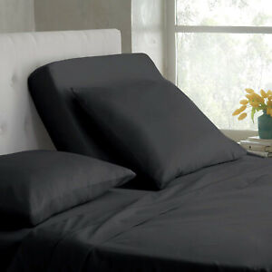 4 PCs Half Split Head Flex Top Sheet Set Adjustable Bed Cotton White Stripe