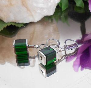 Würfel Ohrhänger Dunkelgrün Glas Würfel Perlen - Ohrringe mit Edelstahl Brisur