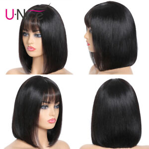 UNice-Short-Bob-Lace-Front-Wig-With-Bangs-Pre-Plucked-Straight-Human-Hair-Wigs