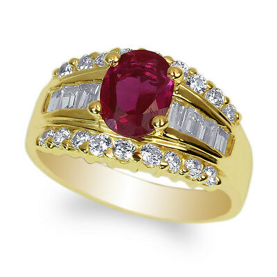 10K Yellow Gold 1.25ct Oval Amethyst Cubic Zirconia Fancy Ring Size 4-9