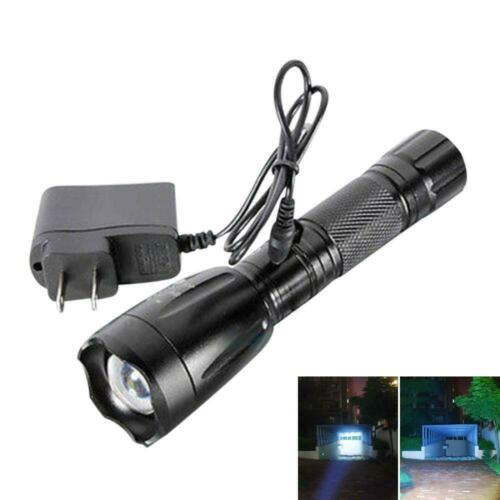 Bright 10000LM LED Focus Flashlight Torch Light 5Modes w// Car AC Charger US