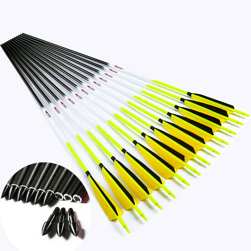 12PCS SP300-600 Eje De Tiro Con Arco Flechas  De Cochebono Pluma de Pavo caza de arco compuesto  moda