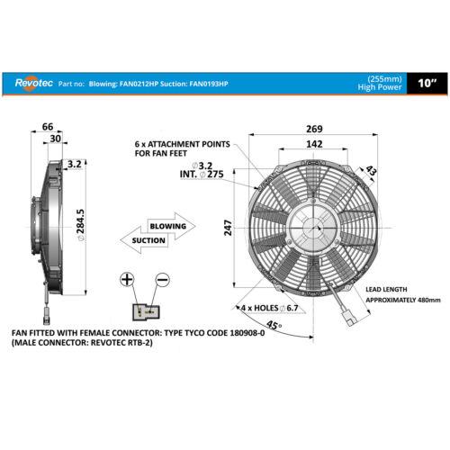 environ 25.40 cm Souffle 255 mm Revotec course//rallye Comex Haute Puissance Voiture Ventilateur de refroidissement 10 in