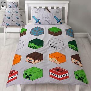 Minecraft-Pixels-Housse-Couette-Simple-et-D-039-Oreiller-Set-Filles-Garcons-Coucher